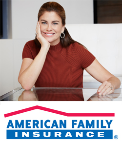 Kathy Ireland and the American Family Insurance Logo